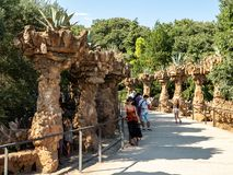 Parc Guell in Barcelona, Spain, architect Antoni Gaudi royalty free stock image