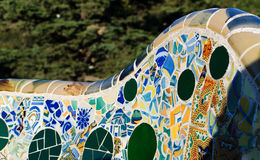 Parc Guell bench detail. Park Guell architecture. Masterpiece of modernism architect Antoni Gaudi. Barcelona, Spain Stock Image