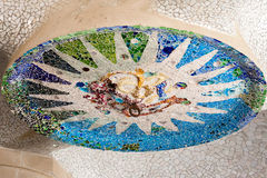 Parc Guell Ceiling Mosaic, Hypostyle Room Stock Photos