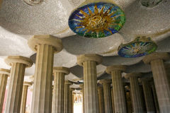 Parc Guell Doric Columns Stock Photo