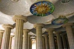 Parc Guell Doric Columns. Barcelona, Spain stock photo