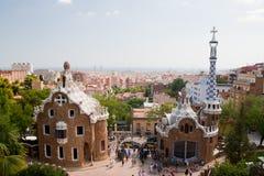 Parc Guell e vista aerea di Barcellona Fotografia Stock Libera da Diritti