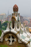 Parc Guell house roof. By Antonio Gaudi, Barcelona, Spain stock images