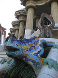 Parc Guell Lizard Fountain Barcelona, Spain Stock Images