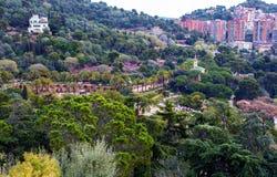 Parc Guell trädgård Royaltyfri Fotografi