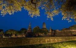 Parc historique d'Ayutthaya, temple bouddhiste de mahathat de wat dans Thail images stock
