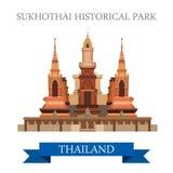Parc historique de Sukhothai dans l'attraction plate de vecteur de la Thaïlande illustration libre de droits
