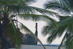 Parc historique national de Puuhonua o Honaunau, grande île, Hawaï photographie stock libre de droits