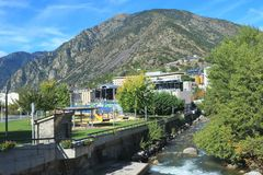 Parc Infantil Prat del Roure and The Gran Valira in Andorra la Vella, Principality of Andorra. Parc Infantil Prat del Roure in Andorra la Vella. It is located royalty free stock photography