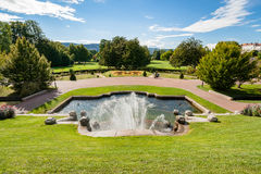 Monumental fountain with waterfalls in a French city park Stock Image