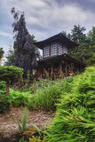 Parc Mondo Verde, picture  of a teahouse in the japanese garden. Royalty Free Stock Image