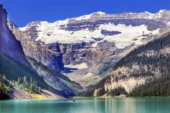 Parc national Alberta Ca de Louise Canoes Snow Mountains Banff de lac photos libres de droits