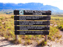 Parc national de Canaima de poteau indicateur venezuela Photos libres de droits