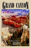 Parc national de Grand Canyon, Arizona, affiche de voyage photographie stock libre de droits