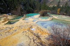 Parc national de Huanglong dans la partie du nord-ouest de Sichuan, Chine Images libres de droits