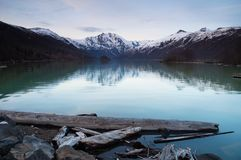 Parc national de Mt St Helens de bois de flottage d'aire de loisirs de lac Coldrwater Photographie stock libre de droits