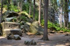 Parc national des roches d'Adrspach-Teplice Ville de roche République Tchèque Images libres de droits