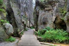 Parc national des roches d'Adrspach-Teplice Ville de roche République Tchèque Photographie stock libre de droits