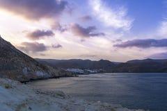 Parc naturel de Cabo De Gata, Almeria, Espagne en heure bleue images stock