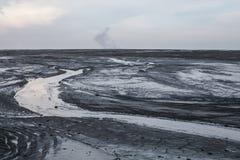 Parc naturel de l'Afrique earth de paysage de conservation sèche de lac Les fissures donnent au noir une consistance rugueuse bla photos libres de droits