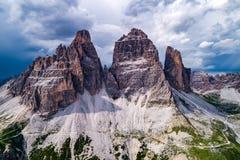 Parc naturel national Tre Cime In les Alpes de dolomites Beau n Images stock