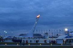Parc olympique à Sotchi la nuit Photographie stock