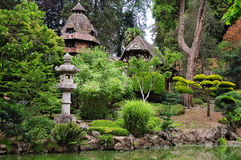 Oriental park. Building and plants in an oriental park Royalty Free Stock Photo