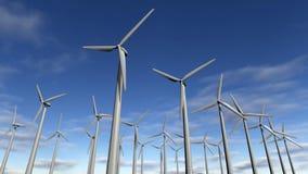 Parc ou champ d'éoliennes de turbines de vent Photographie stock libre de droits