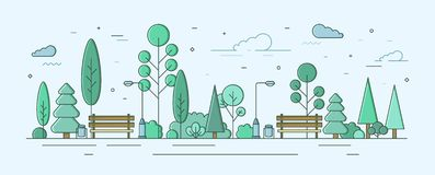 Parc ou jardin de ville avec des arbres, des buissons et des équipements de rue Secteur ou zone récréationnel extérieur color? cr illustration stock