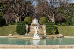 Parc of Pedralbes Barcelona. Parc of Pedralbes (Royal Parc of Pedralbes) Barcelona (Spain) with fountain and Statue Stock Photos