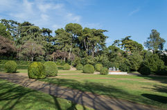 Parc of Pedralbes Barcelona. Parc of Pedralbes (Royal Parc of Pedralbes) Barcelona (Spain) with fountain and Statue Royalty Free Stock Images