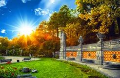 Parc vert, saison d'été, lumière du soleil lumineuse et ombres, beautifu Photographie stock libre de droits