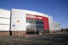 Parc y猩红色体育场在Llanelli,威尔士 图库摄影