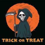 Parca con la plantilla del diseño de la invitación de la tarjeta de Halloween del fondo de la luna fotos de archivo