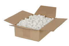 Parcel. Opened parcel stuffed with foam polystyrene padding spacing material Royalty Free Stock Photography