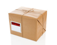 Parcel. On white background with blank delivery label stock images