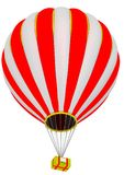 The parcel box flies in a hot air balloon. The yellow parcel box flies in a hot air balloon. Isolated. 3D Illustration Royalty Free Stock Photos