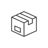Parcel box line icon, outline vector sign, linear style pictogram isolated on white. Symbol, logo illustration. Editable stroke. Pixel perfect Stock Photos