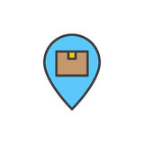 Parcel box on map pointer filled outline icon, vector sign. Colorful illustration Stock Photos
