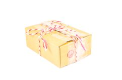 Parcel box tied. With red and white rope stock photos