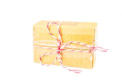 Parcel box tied. With red and white rope stock image