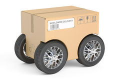 Parcel with car wheels, fast delivery concept. 3D rendering Stock Image