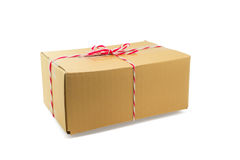 Parcel cardboard box and tied with string Stock Images
