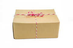 Parcel cardboard box and tied with string Royalty Free Stock Image