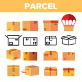 Parcel, Cardboard Boxes Vector Color Icons Set royalty free stock photo