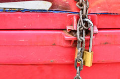 Parcel with chain and padlock Stock Images