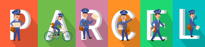 PARCEL Colourful Banner with Postman Character Set. In service. Vector illustration of fast and save delivery by friendly mailmen riding bike, carrying Stock Image