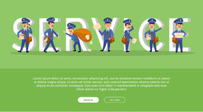 Parcel Conceptual Web Banner with Cartoon Postman. Characters. Funny postal couriers delivering letter and parcel flat vector illustration. Horizontal concept Royalty Free Stock Photos