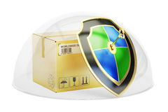 Parcel covered by glass dome. Freight cargo insurance and protec. Tion concept, 3D Royalty Free Stock Photo