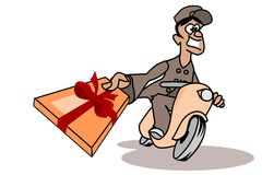 Parcel deliverer Stock Images